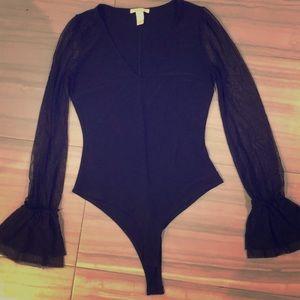 Black thong bodysuit